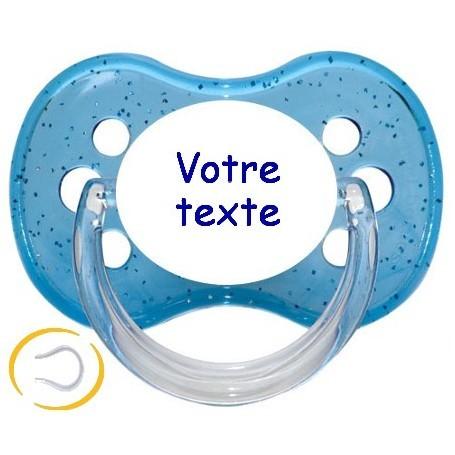 Tétine personnalisée prénom Paillette bleu cerise silicone