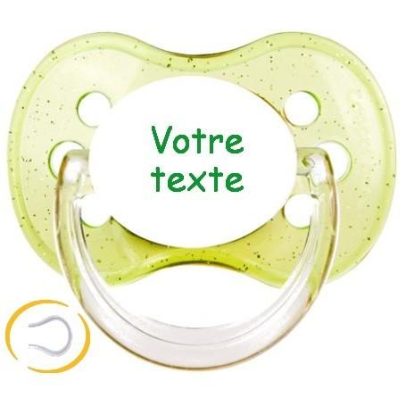Tétine personnalisée prénom Paillette vert cerise silicone
