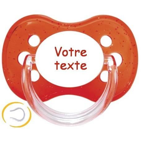 Tétine personnalisée Paillette rouge cerise silicone