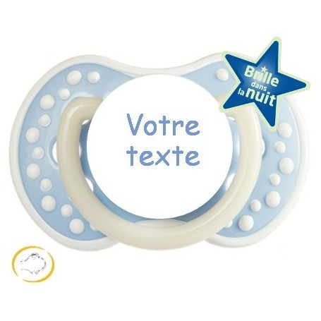 Tétine personnalisée Night and day bleu silicone