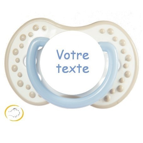 Tétine personnalisée Night and day bleu beige silicone