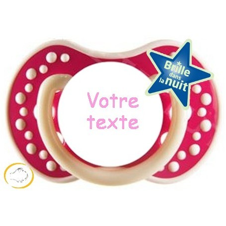 Tétine personnalisée Night and day fuschia silicone
