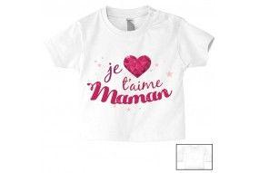 Tee-shirt de bébé je suis aussi bavarde que maman