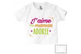 Tee-shirt de bébé ma maman m'adore fille