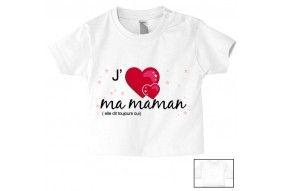 Tee-shirt de bébé fait gaffe j'ai le caractère de ma mère