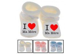 Chaussons de bébé ma maman m'adore fille