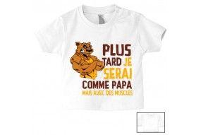 Tee-shirt de bébé à la maison c'est papa qui commande quand maman n'est pas là