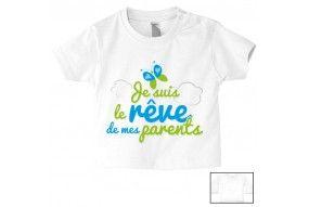 Tee-shirt de bébé je suis beau et costaud comme papa bleu vert