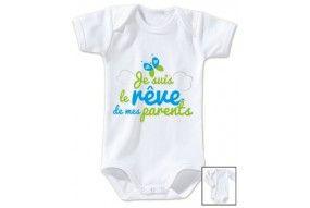 Body de bébé je suis beau et costaud comme papa bleu vert