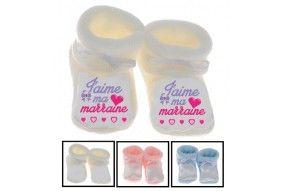 Chaussons de bébé j'aime ma marraine double cœur bleu