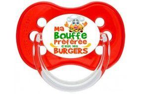 Tétine de bébé humour ma bouffe préférée c'est les burgers