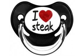 Tétine de bébé humour et originale I love steak