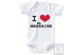 Body de bébé j'aime mon parrain double cœur bleu